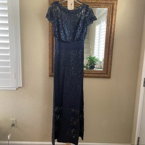 Tadashi Shoji navy illusion sequined lace gown